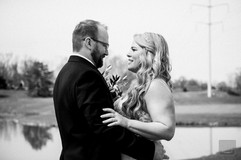 1st look at golfcourse in black and white wedding photo