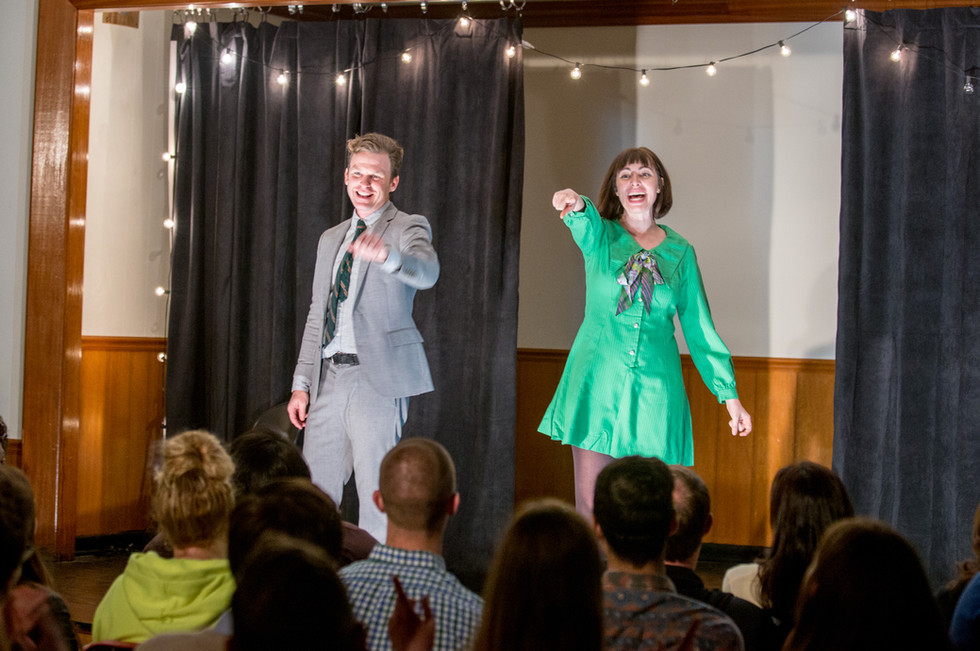 John and Brianne hosting Front Porch Improv