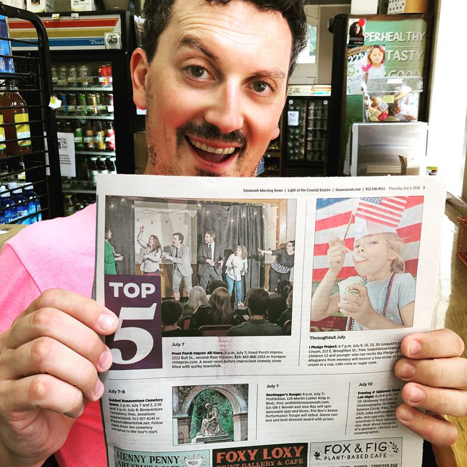 Dan Gilbert holds the Savannah Morning News. We are listed in their Top Five Things to do in Savannah.