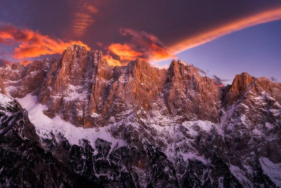 Three Peaks on Fire