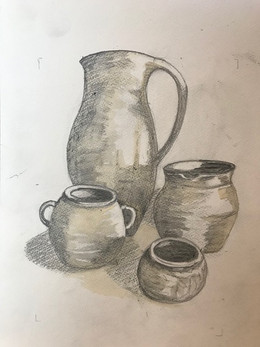 Gorgeous drawing...still-life in pencil after Morandi.