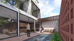 FVS Backyard pond facade - minimalist materi