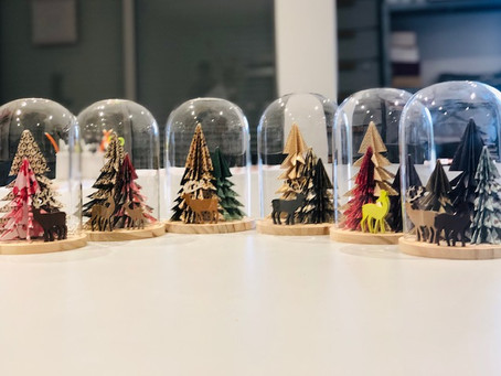 Atelier cloche verre sapins origami