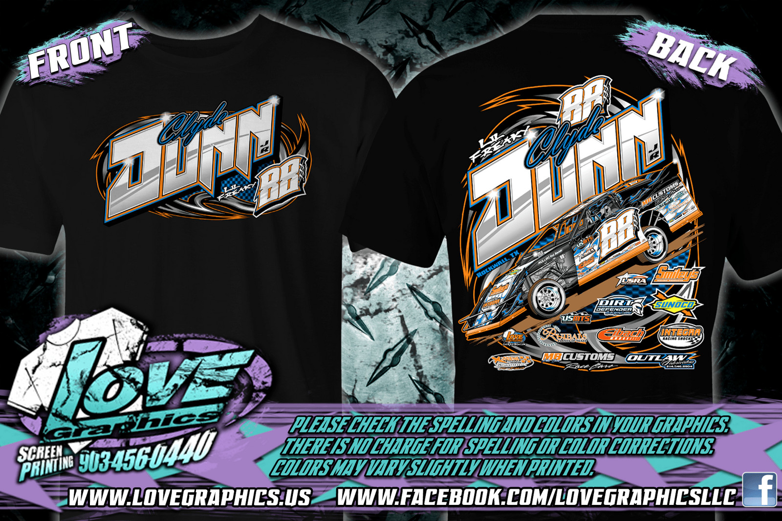 Race Car Line Love Graphics Screen Printing