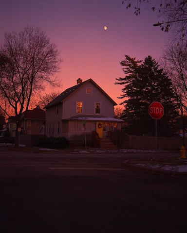 Color reference #1. Neon suburbia at sunset.