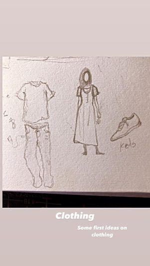 Early clothing design for the man & the woman.
