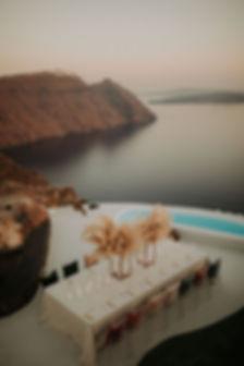 Intimate Destination Wedding in Santorini with Pampas Grass