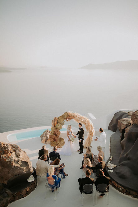 Intimate Destination Wedding in Santorini with Pampas Grass