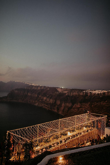 A magical Santorini destination wedding - fairy light installation