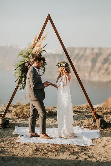 Greek Island elopement - triangle arch