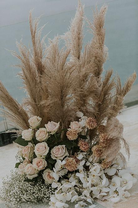 Romantic Santorini Elopement with Pampas Grass