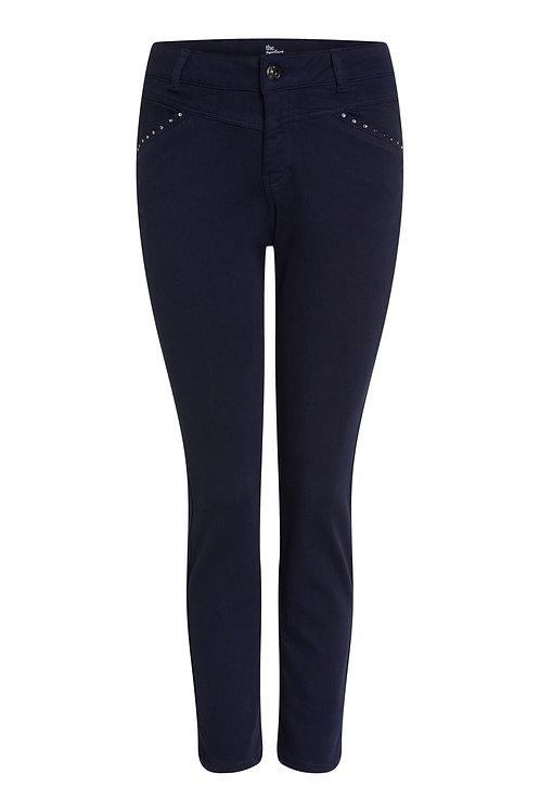 Oui Navy Studded Pocket Trousers