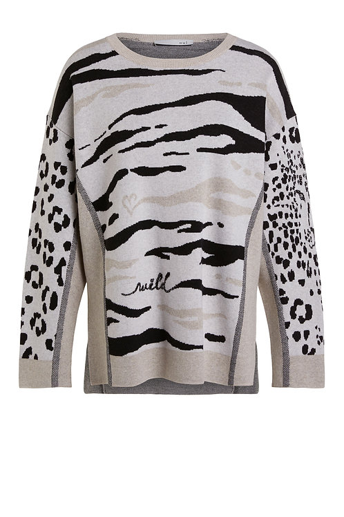 Oui neutral leopard animal print jumper knit JLB stockist Magherafelt Jude Law Boutique NI
