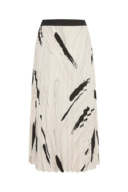 Inwear vol midi skirt paint strokes pleated black cream white JLB Jude Law Boutique Magherafelt