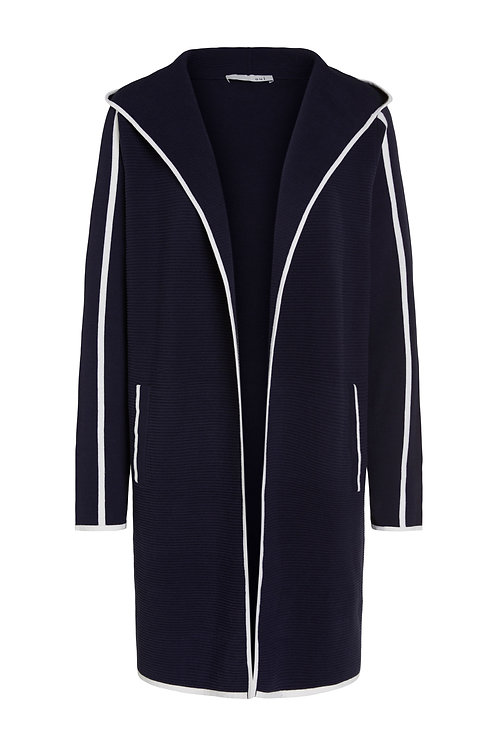 Oui Navy Ribbed Hooded Cardigan
