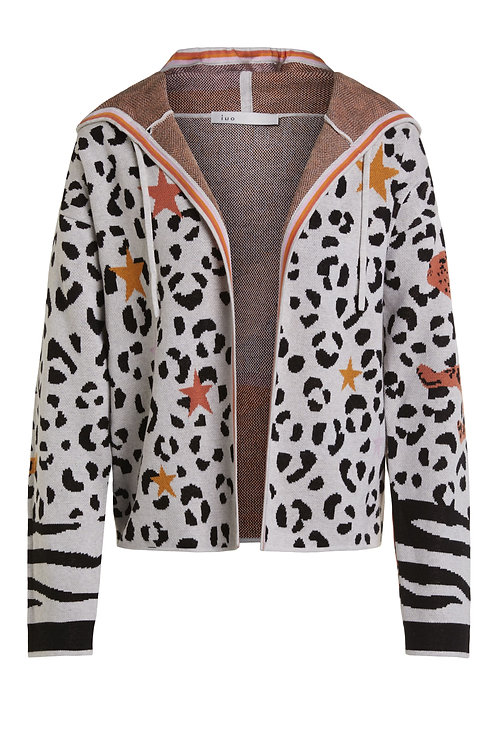 oui leopard print motif hooded cardigan casual JLB Jude Law Boutique NI stockists MAGHERAFELT