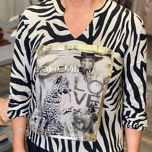 Zebra print monari Jude Law Boutique Northern Ireland top blouse mid ulster print