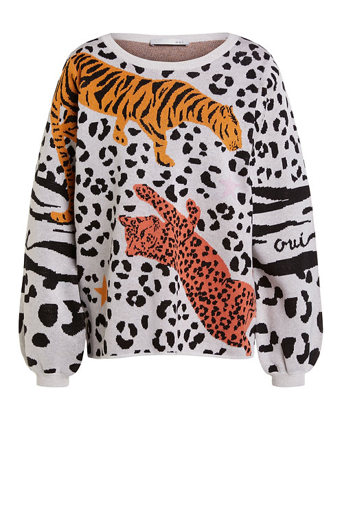 Oui leopard print puff sleeve jumper motif cosy knit JLB Jude Law Boutique Northern Ireland NI stockists Magherafelt