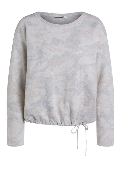 Oui neutral camo jumper camouflage tie waist grey cream JLB Jude Law Boutique NI Magherafelt