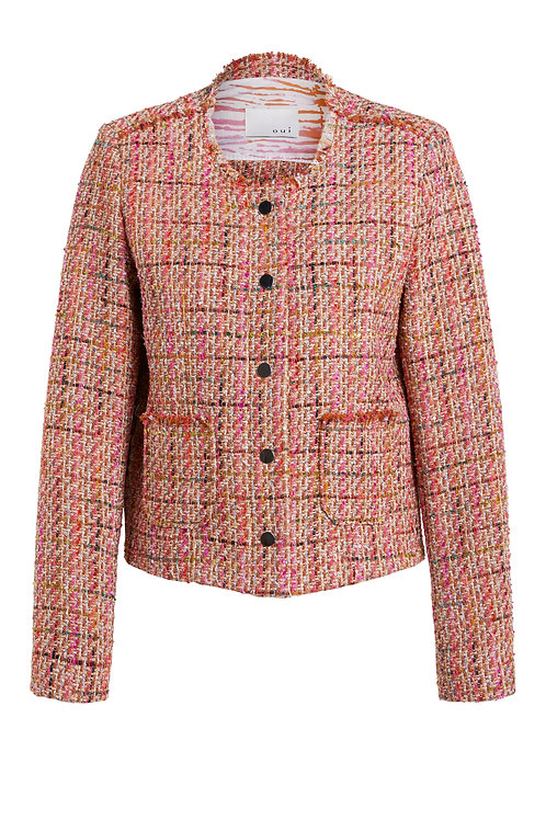 Oui coral check tweed jacket button pockets blazer JLB Jude Law Boutique NI Magherafelt