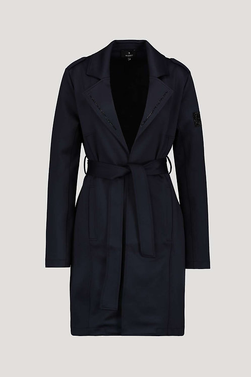 monari navy blazer jacket long tie waist pockets casual JLB stockists Northern Ireland Magherafelt Jude Law Boutique