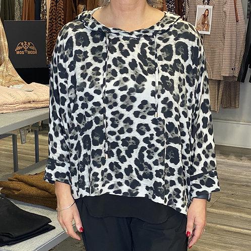 Naya Grey Leopard Hooded Blouse