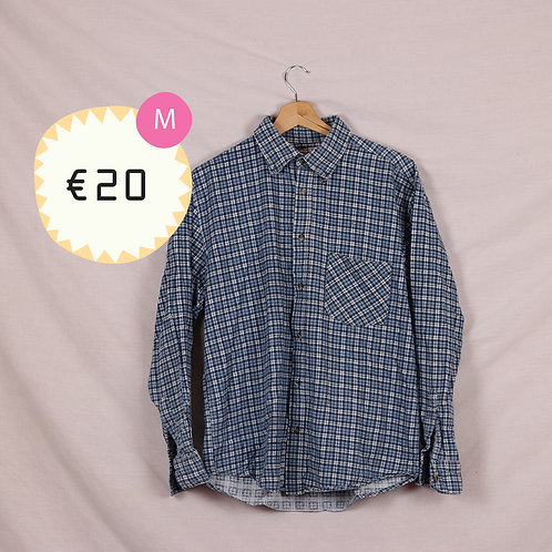 Blue and White Flannel Shirt