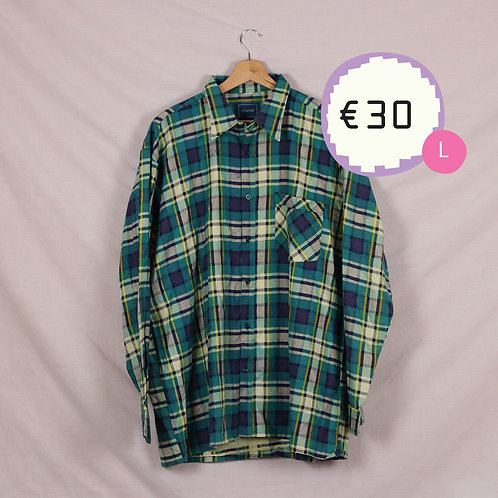 Blue Yellow and Green Flannel Shirt