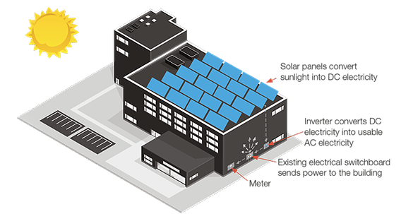 Graphic of solar panels on a roof that convert sunlight into DC energy. This flows to the inverter which converts the AC into DC electricity, and then a switchboard sends power to the bulding.