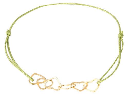 Viola, Stoffband grün, 6 Herzen