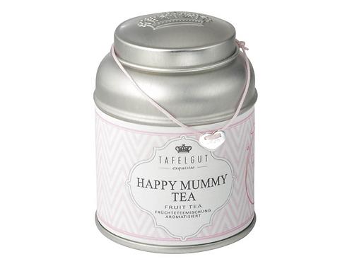 """Happy Mummy Tea /  Herz silber """"Mum"""" graviert Stoffband rosé"""