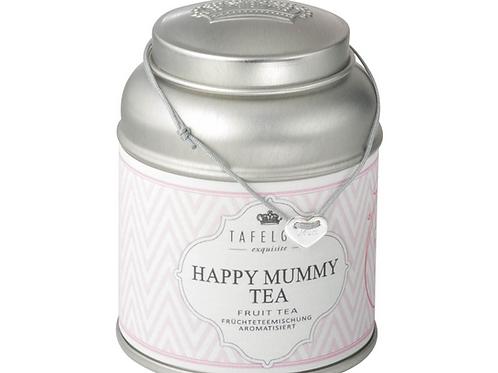 "Happy Mummy Tea /  Herz silber ""Mum"" graviert grau Stoffband"