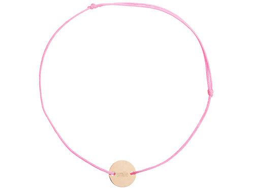 """Stoffband pink, Kreis graviert """"smile"""""""