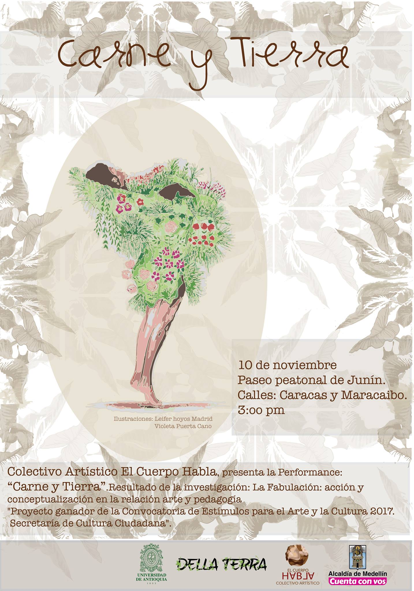 Afiche performance Carne y tierra.
