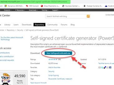 NAVUserPassword Certificate Generation for NAV