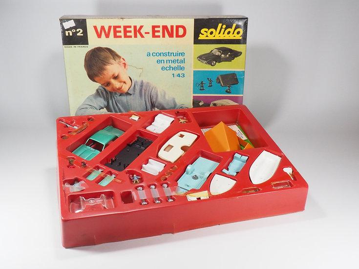 SOLIDO - N°2 - Coffret Week End - Ford Thunderbird avec Caravan et Bateau - En b
