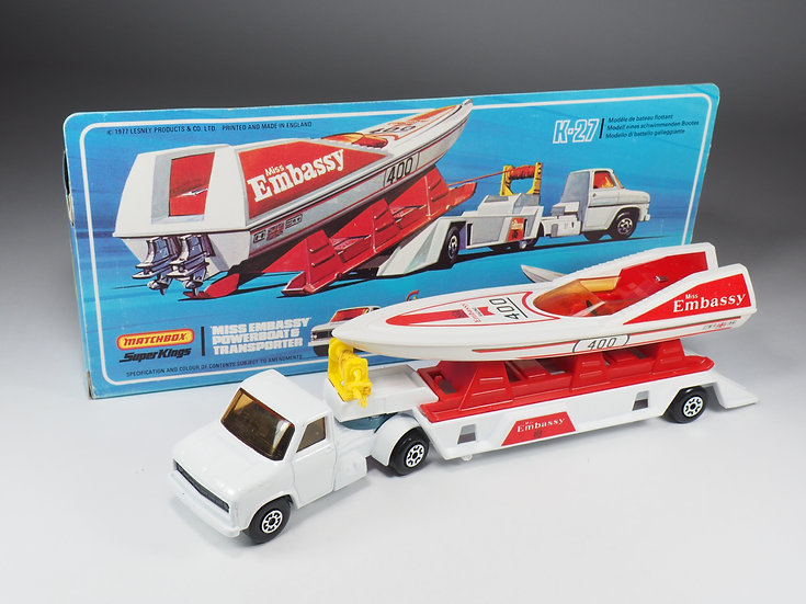 MATCHBOX SUPER KINGS - K27 - MISS EMBASSY POWERBOAT AND TRANSPORTER