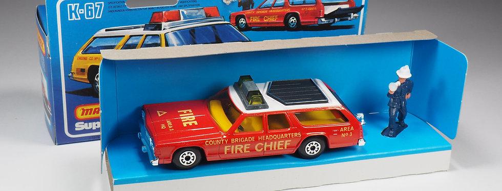 MATCHBOX SUPER KINGS - K67 - DODGE MONACO FIRE CHIEF - RED BASEPLATE