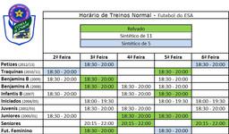 Horários de treinos de futebol, época 2018 / 2019