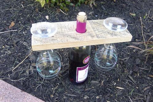 Barnwood Wine Bottle & Glass Holder (2 Glass)