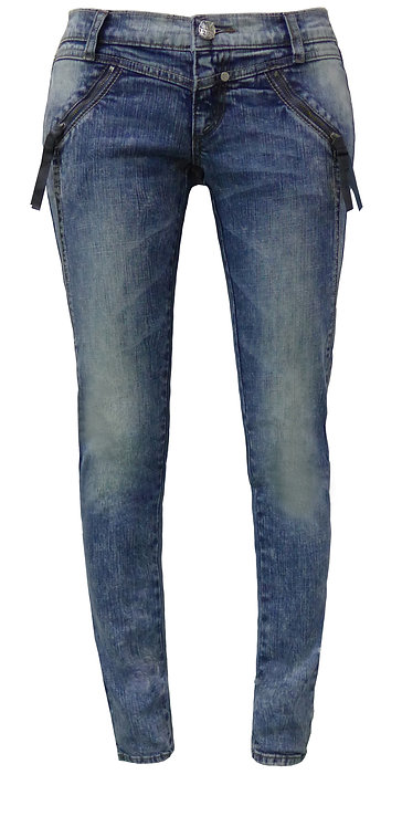 BLUE SKINNY JEANS WITH ZIPPERED POCKETS【CM1328-03】