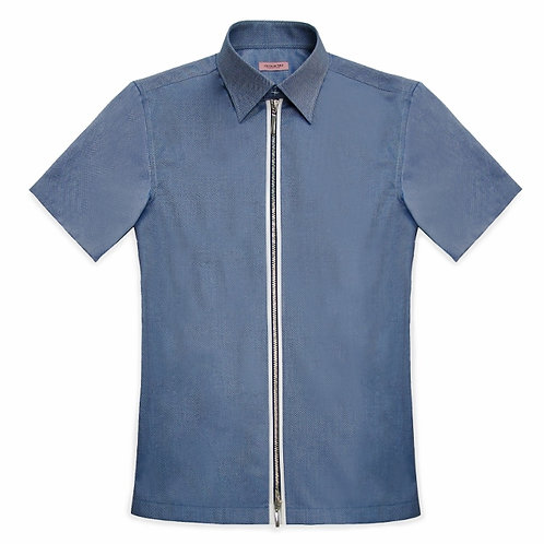 SHORT SLEEVED CAUSAL SHIRT WITH ZIPPER