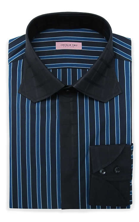 Blue & Black Stripes with Contrast Collar & Cuff Egyptian Cotton