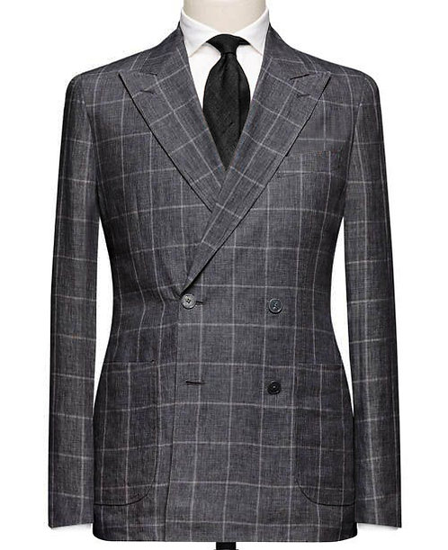 CHARCOAL CHECK DOUBLE-BREASTED TAILORED SUIT