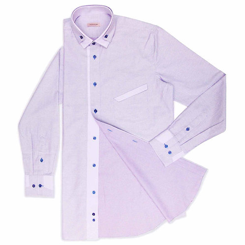 LAVENDER SHIRT WITH BLUE BUTTONS