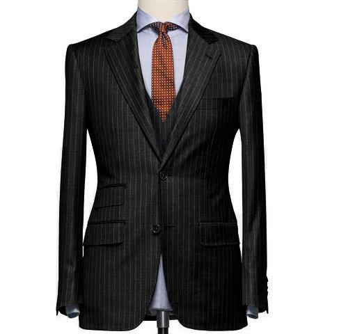 Black Chalk Stripe Classic Suit