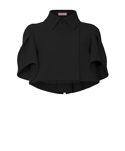 【CHIC】BLACK DRAPING SHORT JACKET【WJK 1735】C+