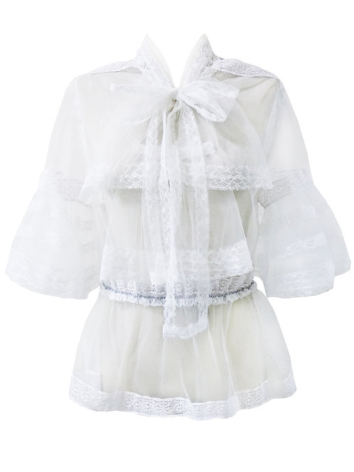 【CHIC】WHITE LACE LAYERING BLOUSE 【WSH 1709】C+++