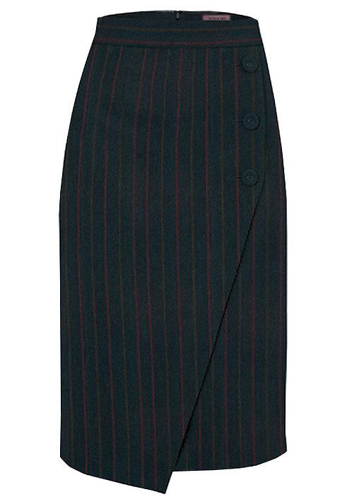 【CHIC】BLACK PINSTRIPE MIDI IRREGULAR SKIRT【WSK 1710】C+