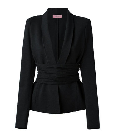 【CHIC】BLACK SHAWL LAPEL BELTED PEPLUM JACKET【WJK 1708】C+